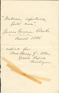 Autographs: JAMES FREEMAN CLARKE - AUTOGRAPH QUOTATION SIGNED 3/1886