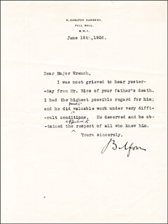 Autographs: PRIME MINISTER ARTHUR J. BALFOUR (GREAT BRITAIN) - TYPED LETTER SIGNED 06/18/1926