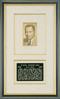 PAUL L. ROBESON - PICTURE POST CARD SIGNED