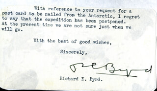 Autographs: REAR ADMIRAL RICHARD E. BYRD - TYPED NOTE SIGNED
