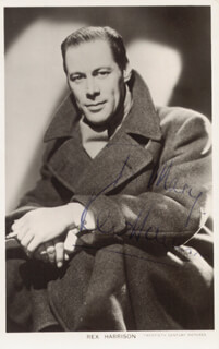 REX HARRISON - INSCRIBED PICTURE POSTCARD SIGNED
