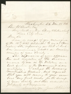 BRIGADIER GENERAL GREEN B. RAUM - AUTOGRAPH LETTER SIGNED 03/22/1886