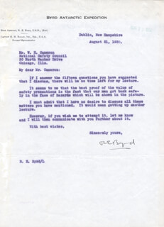 Autographs: REAR ADMIRAL RICHARD E. BYRD - TYPED LETTER SIGNED 08/21/1930