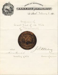 JOHN S. PILLSBURY - MANUSCRIPT DOCUMENT SIGNED 02/09/1880 CO-SIGNED BY: FRED VON BAUMBACH