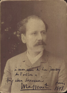 JULES MASSENET - AUTOGRAPHED INSCRIBED PHOTOGRAPH 1898
