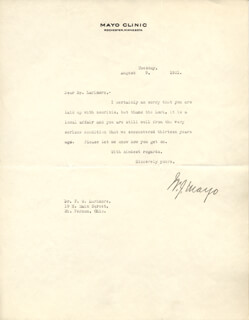 WILLIAM J. MAYO - TYPED LETTER SIGNED 08/09/1921