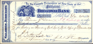 Autographs: A. OAKEY HALL - CHECK SIGNED 12/31/1870 CO-SIGNED BY: RICHARD B. CONNOLLY