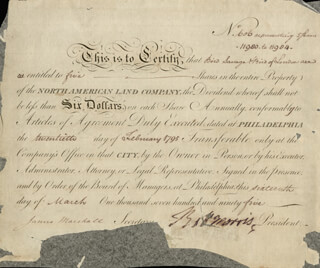 Autographs: ROBERT MORRIS - STOCK CERTIFICATE SIGNED 03/16/1795 CO-SIGNED BY: JAMES MARSHALL