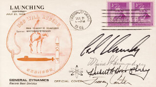 Autographs: PRESIDENT JAMES E. JIMMY CARTER - COMMEMORATIVE ENVELOPE SIGNED CO-SIGNED BY: MURIEL HUMPHREY, EDWARD TED KENNEDY, VICE PRESIDENT HUBERT H. HUMPHREY