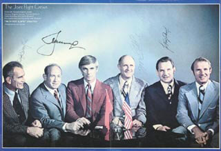 Autographs: APOLLO - SOYUZ CREW - PHOTOGRAPH SIGNED CO-SIGNED BY: VALERI N. KUBASOV, MAJOR GENERAL ALEXEI LEONOV, LT. GENERAL THOMAS P. STAFFORD, MAJOR DONALD DEKE SLAYTON