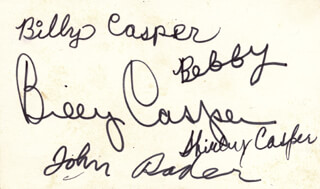 Autographs: BILLY CASPER - SIGNATURE(S) CO-SIGNED BY: BILLY CASPER III, BOBBY CASPER, SHIRLEY CASPER, JOHN RADER