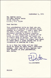 E. L. (EDGAR LAWRENCE) DOCTOROW - TYPED LETTER SIGNED 09/01/1976