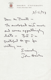 JOHN HAWKES - AUTOGRAPH LETTER SIGNED 03/16/1973