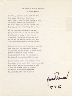 Autographs: HOWARD NEMEROV - TYPESCRIPT SIGNED 05/17/1966