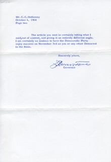 GOVERNOR J. MILLARD TAWES - TYPED LETTER SIGNED 10/05/1964