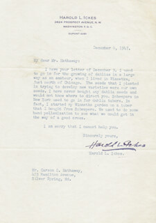 Autographs: HAROLD L. ICKES - TYPED LETTER SIGNED 12/06/1947