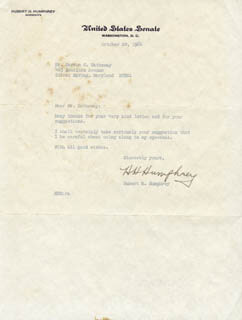 VICE PRESIDENT HUBERT H. HUMPHREY - TYPED LETTER SIGNED 10/20/1964