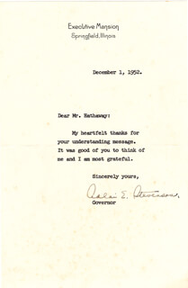 GOVERNOR ADLAI E. STEVENSON II - TYPED LETTER SIGNED 12/01/1952