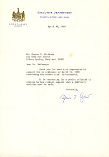 VICE PRESIDENT SPIRO T. AGNEW - TYPED LETTER SIGNED 04/30/1968