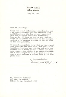 MARK O. HATFIELD - TYPED LETTER SIGNED 07/28/1964