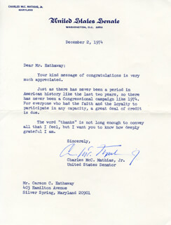 CHARLES M. MATHIAS JR. - TYPED LETTER SIGNED 12/02/1974