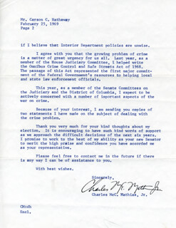 CHARLES M. MATHIAS JR. - TYPED LETTER SIGNED 02/25/1969