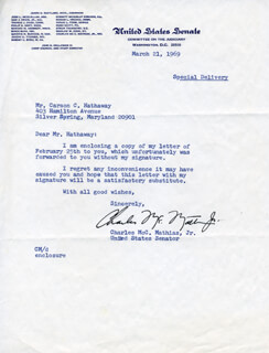 CHARLES M. MATHIAS JR. - TYPED LETTER SIGNED 03/21/1969