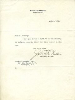 JOHN W. WEEKS - TYPED LETTER SIGNED 04/09/1921