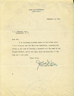 JOHN W. WEEKS - TYPED LETTER SIGNED 02/12/1924