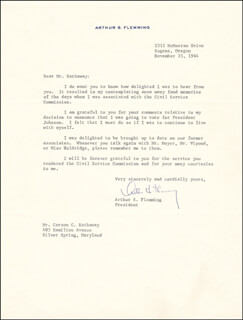 Autographs: ARTHUR S. FLEMMING - TYPED LETTER SIGNED 11/25/1964