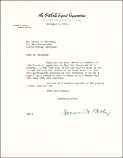 Autographs: JAMES A. FARLEY - TYPED LETTER SIGNED 11/05/1964
