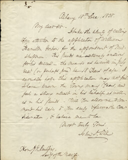 MAJOR GENERAL JOHN A. DIX - AUTOGRAPH LETTER SIGNED 12/18/1838