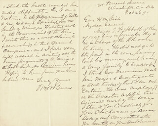 Autographs: BRIGADIER GENERAL WILLIAM WALLACE BURNS - AUTOGRAPH LETTER SIGNED 10/22/1890