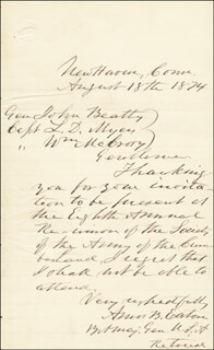MAJOR GENERAL AMOS B. EATON - AUTOGRAPH LETTER SIGNED 08/18/1874