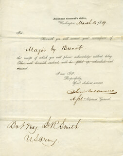 MAJOR GENERAL IRVIN McDOWELL - DOCUMENT SIGNED 03/14/1849