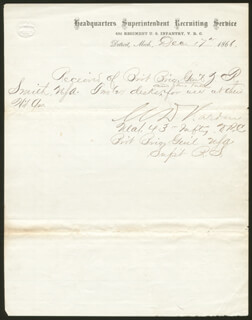 BRIGADIER GENERAL MARTIN DAVIS HARDIN - MANUSCRIPT DOCUMENT SIGNED 12/17/1866