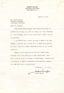 DEEMS TAYLOR - TYPED LETTER SIGNED 04/27/1961