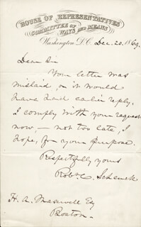 MAJOR GENERAL ROBERT C. SCHENCK - AUTOGRAPH LETTER SIGNED 12/20/1869