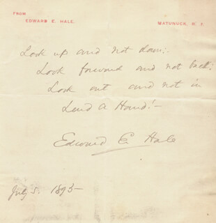EDWARD EVERETT HALE - AUTOGRAPH QUOTATION SIGNED 07/05/1893