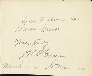 GEORGE F. HOAR - AUTOGRAPH CO-SIGNED BY: JOHN HENRY GEAR