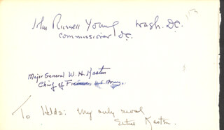 JOHN RUSSELL YOUNG - AUTOGRAPH CO-SIGNED BY: MAJOR GENERAL WILLIAM H. KASTEN, ETHEL KASTEN