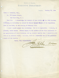 GOVERNOR JOHN A. MARTIN - TYPED LETTER SIGNED 01/30/1888