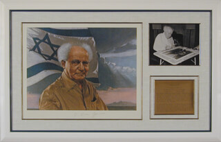 PRIME MINISTER DAVID BEN-GURION (ISRAEL) - PRINTED ART SIGNED IN INK CIRCA 1973