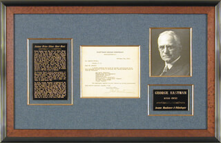 GEORGE EASTMAN - TYPED LETTER SIGNED 02/05/1929
