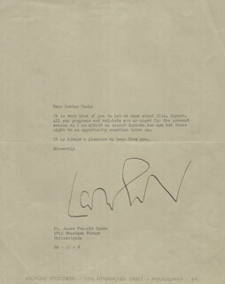 LEOPOLD STOKOWSKI - TYPED LETTER SIGNED 11/06/1934