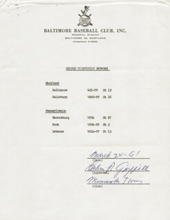 CALVIN R. GRIFFITH - DOCUMENT SIGNED 03/24/1961
