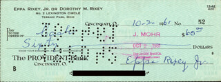 EPPA RIXEY - AUTOGRAPHED SIGNED CHECK 10/02/1961
