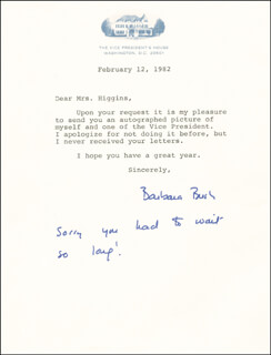 Autographs: FIRST LADY BARBARA BUSH - TYPED LETTER SIGNED 02/12/1982