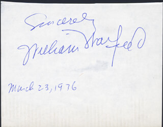 WILLIAM WARFIELD - AUTOGRAPH SENTIMENT SIGNED 03/23/1976