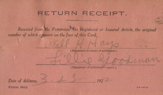 Autographs: WILL H. HAYS - ANNOTATED DOCUMENT SIGNED 03/20/1922